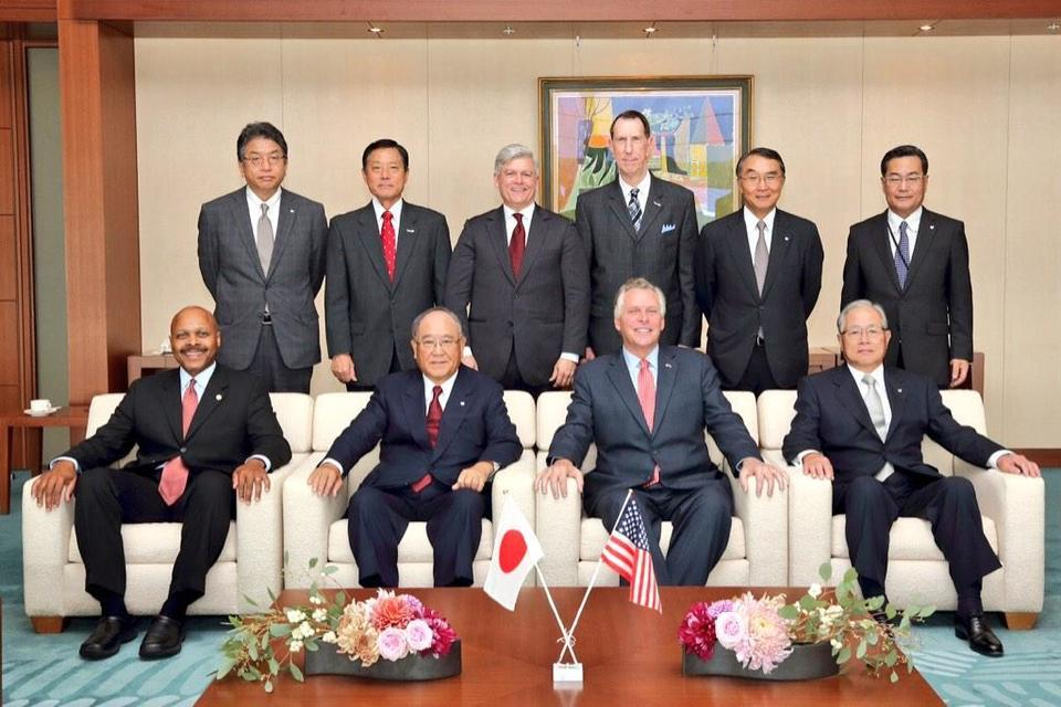 Gov. McAuliffe and the Virginia delegation meet with Canon executives, including their Chairman Fujio Mitarai, in Japan Oct. 21.