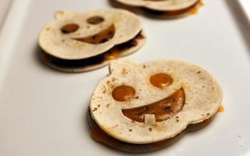 Pumpkin face quesadillas