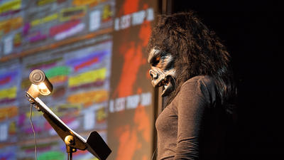 The Guerrilla Girls outline their trailblazing feminist art in talk at the Baltimore School for the Arts