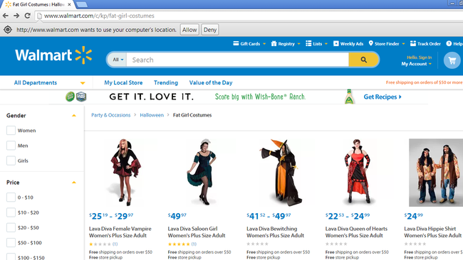 Walmart sells 'fat girl costumes' for Halloween