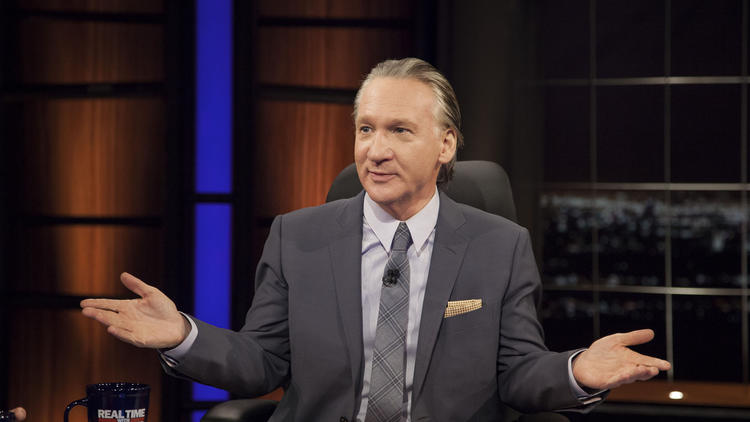 Bill Maher on the set of his cable television show.