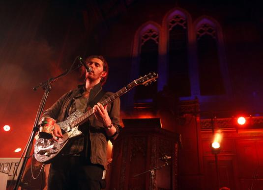Irish folk singer Hozier performs at an intimate gathering at the Immanuel Presbyterian Church in Los Angeles on Oct. 16, 2014.