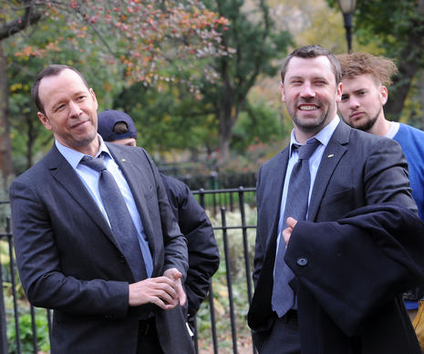 "Donnie Wahlberg and his stand-in on the set of ""Blue Bloods"" on Oct. 31, 2014, in New York City."