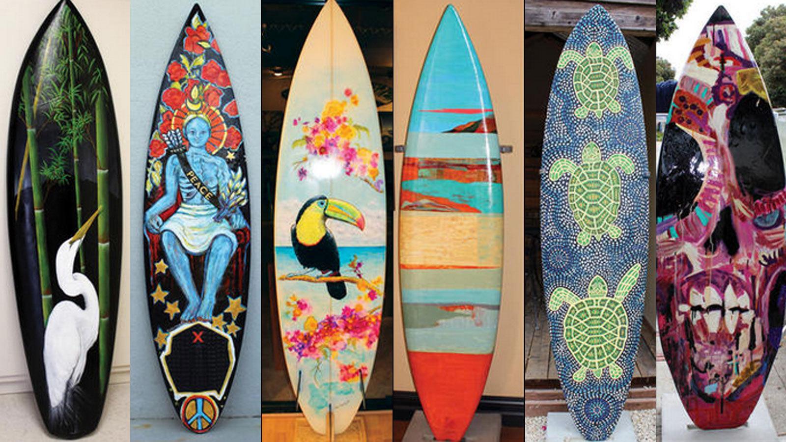 Surfboards art in Morro Bay surfboard art festival