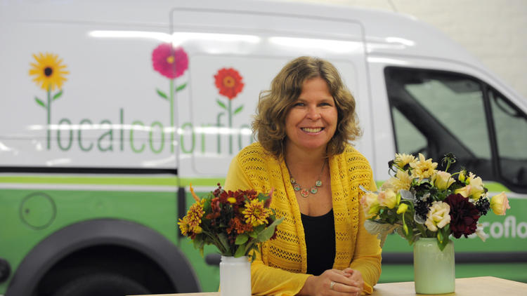 Ellen Frost at her flower shop Local Color Flowers