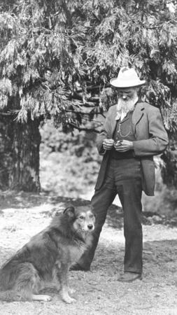 John Muir and his dog in California in 1900. (Underwood Archives)