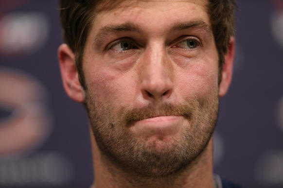 Jay Cutler answers questions Thursday at Halas Hall.