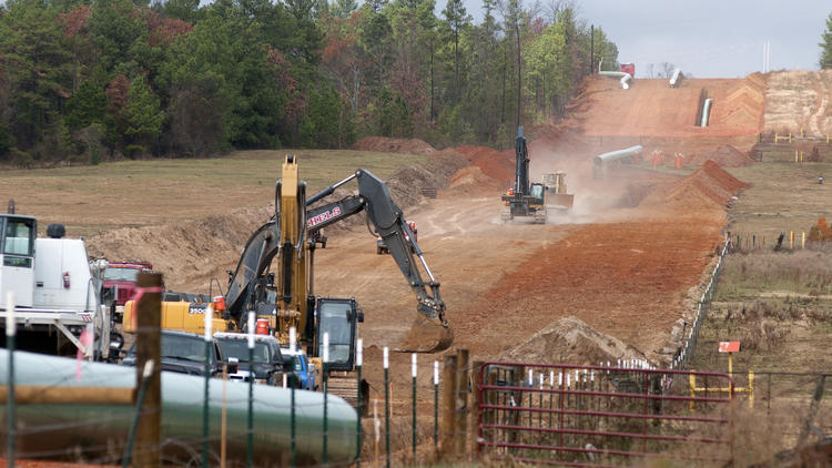 Crews clear a route in preliminary construction work for the proposed Keystone XL pipeline near Winona, Texas. (Sarah A. Miller / Tyler (Texas) Morning Telegraph)