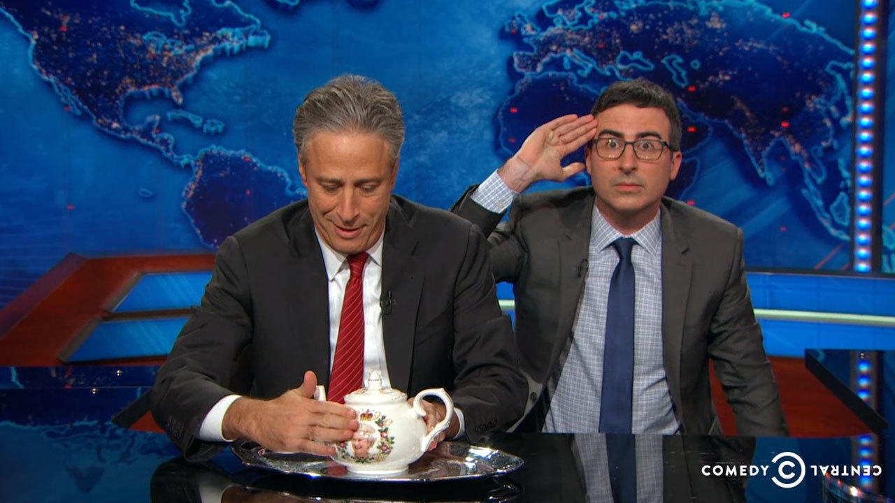 Jon Stewart, left, and John Oliver will be headlining the Stand Up for Heroes fundraiser for veterans. (Comedy Central)