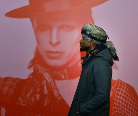 Singer Usher checks out the David Bowie Is exhibit at the Museum of Contemporary Art Dec. 16, 2014.