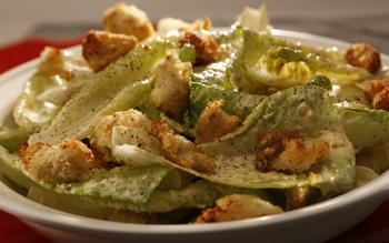 Carolina's Caesar salad with anchovy croutons