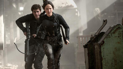 The first part of the final 'Hunger Games' movie gets real, goes meta