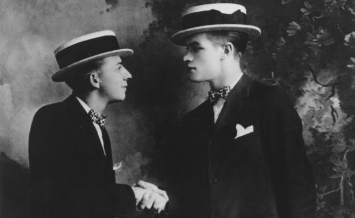 Bob Hope, right, with early comedic partner George Byrne in a promotional photo for their vaudeville act, circa 1922.