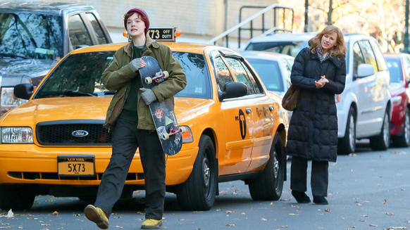 "Elle Fanning, left, and Naomi Watts are seen filming ""Three Generations"" on Nov. 19, 2014, in New York City."