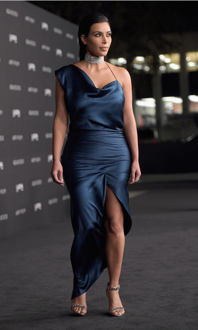 Kim Kardashian teal blue satin asymmetrical gown