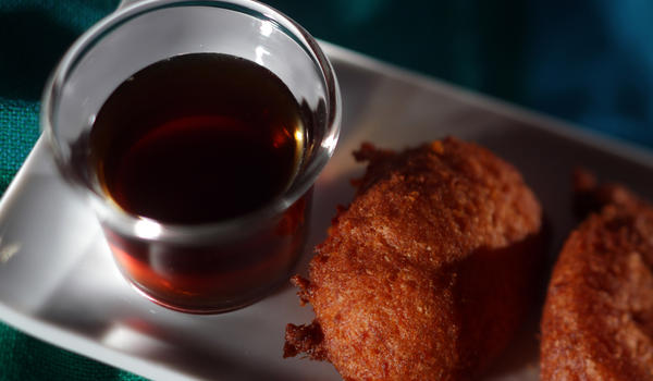 Sweet potato fritters with clove-scented syrup