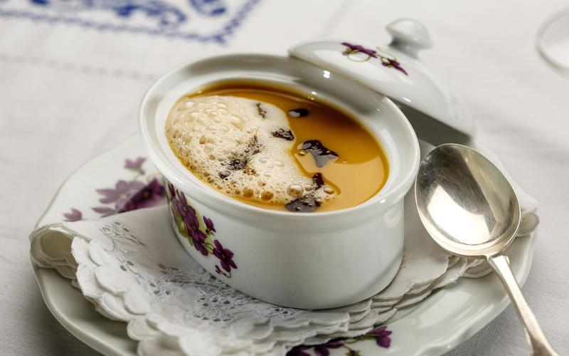 Pumpkin soup with toasted pumpkin seed pesto