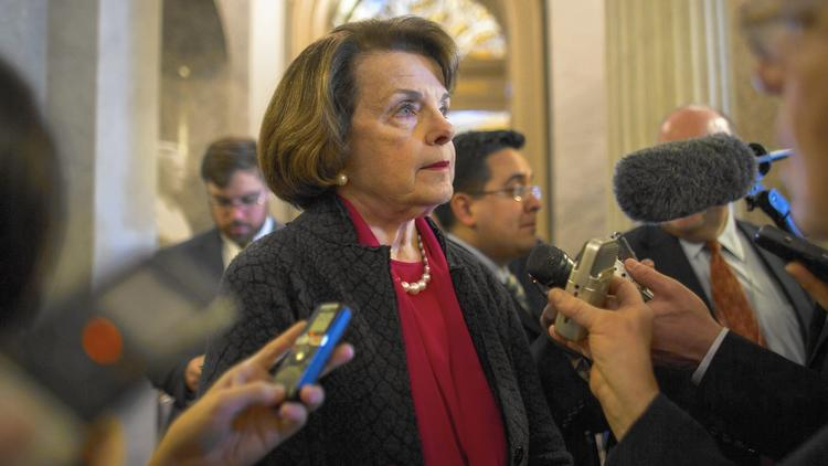 Feinstein speaks to reporters