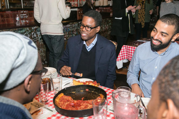 "Comedian Chris Rock makes a promotional appearance on behalf of his film, ""Top Five,"" Dec. 10, 2014 at Gino's East in Streeterville"