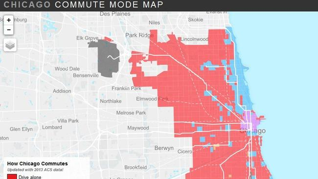 Census Map Chicago Chicago Commute Mode Map