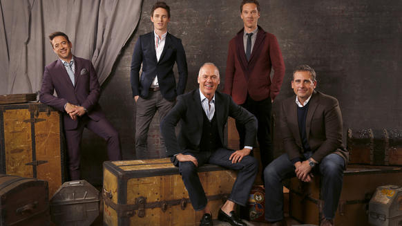 Five lead actors: Robert Downey Jr., left, Eddie Redmayne, Michael Keaton, Benedict Cumberbatch and Steve Carell.