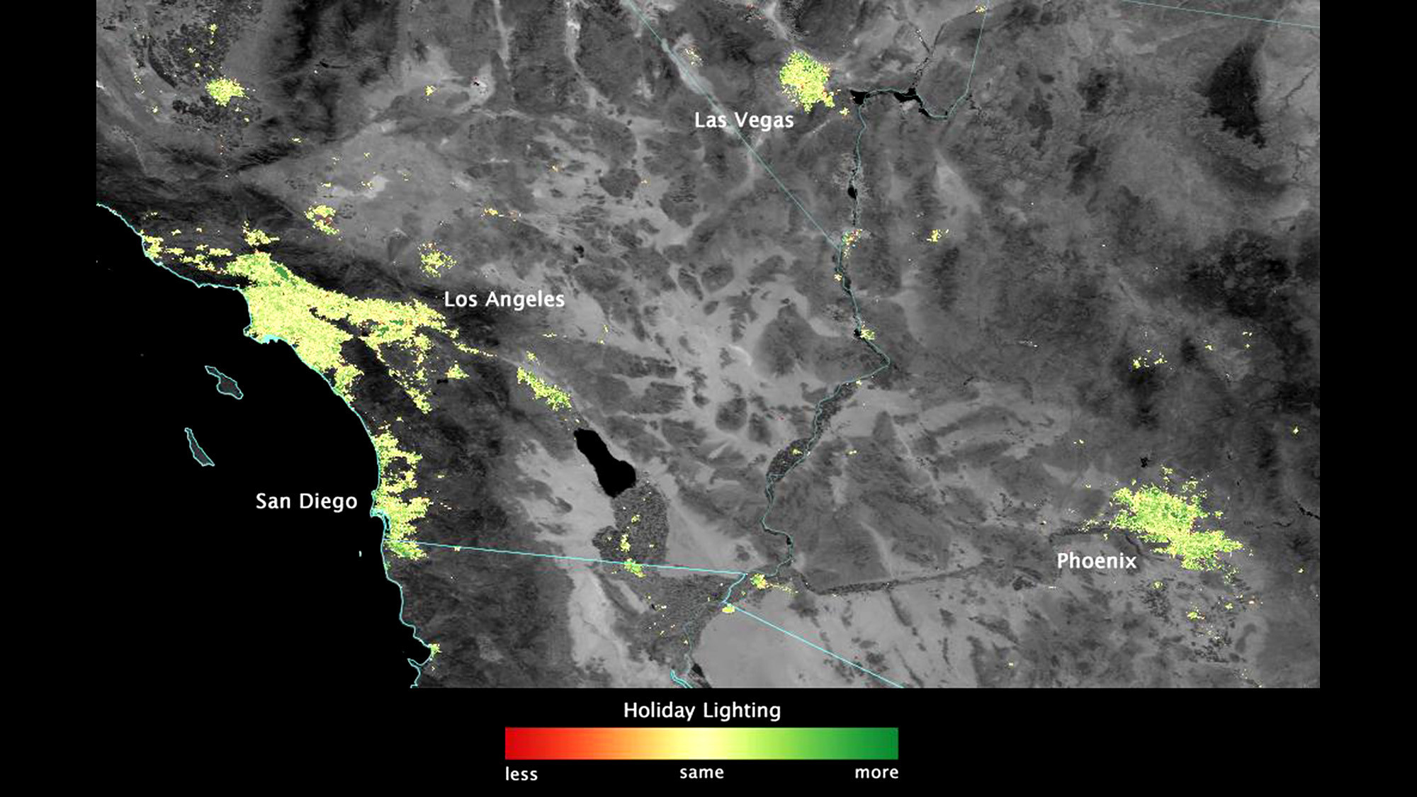 US Satellite Spies Holiday Lights From Space LA Times - Us lights map