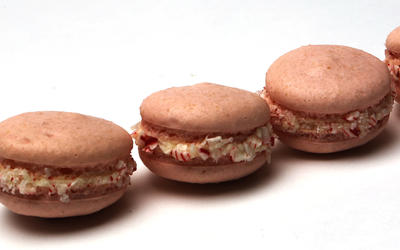 Macarons filled with white chocolate peppermint ganache