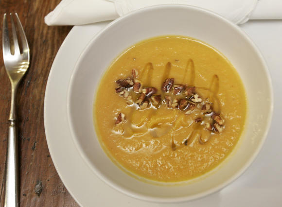 Roasted kabocha squash and celery root soup with maple syrup and brown butter
