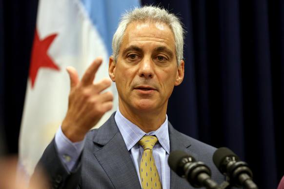 Mayor Rahm Emanuel answers questions after a Chicago City Council meeting in July.