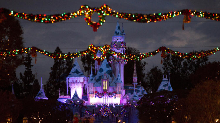 Holiday decorations at Disneyland