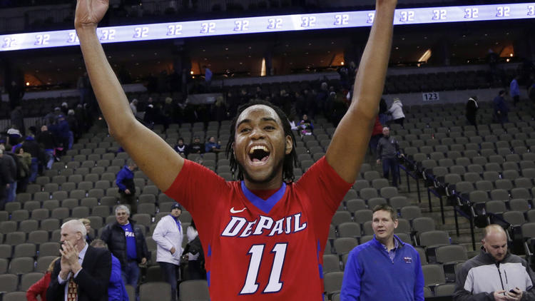 DePaul's Forrest Robinson celebrates his team's 70-60 win over Creighton in in Omaha, Neb. (Nati Harnik, AP)