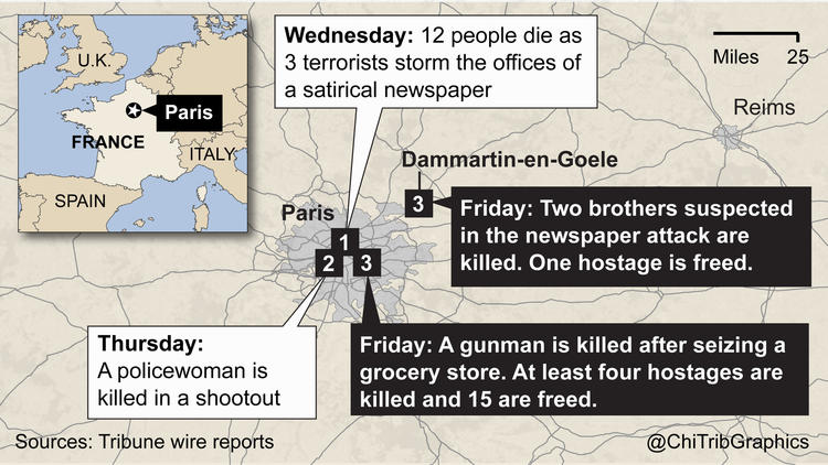 Events in the Charlie Hebdo shooting (map)
