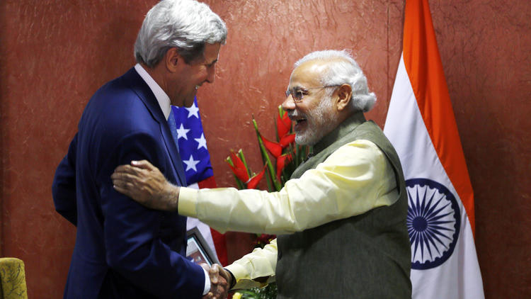 John Kerry and Narendra Modi
