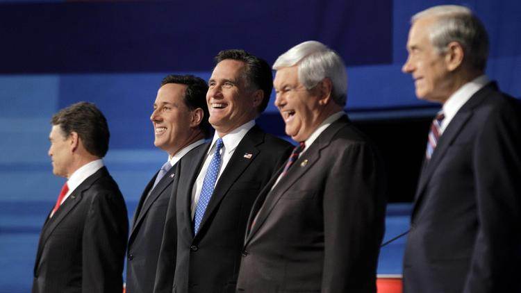 Rick Perry, Rick Santorum, Newt Gingrich, Ron Paul, Mitt Romney