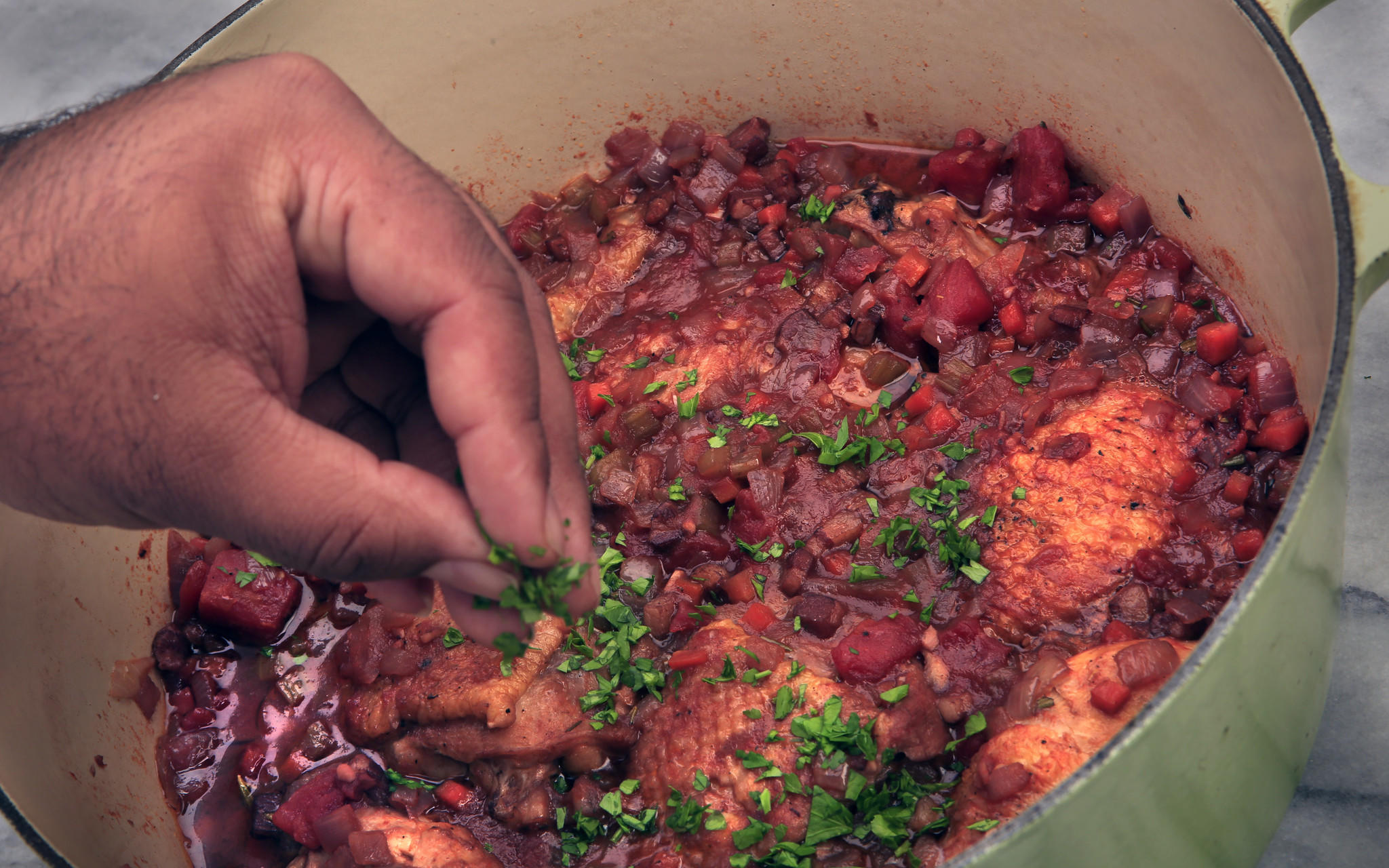 Chicken braised with pancetta and tomatoes