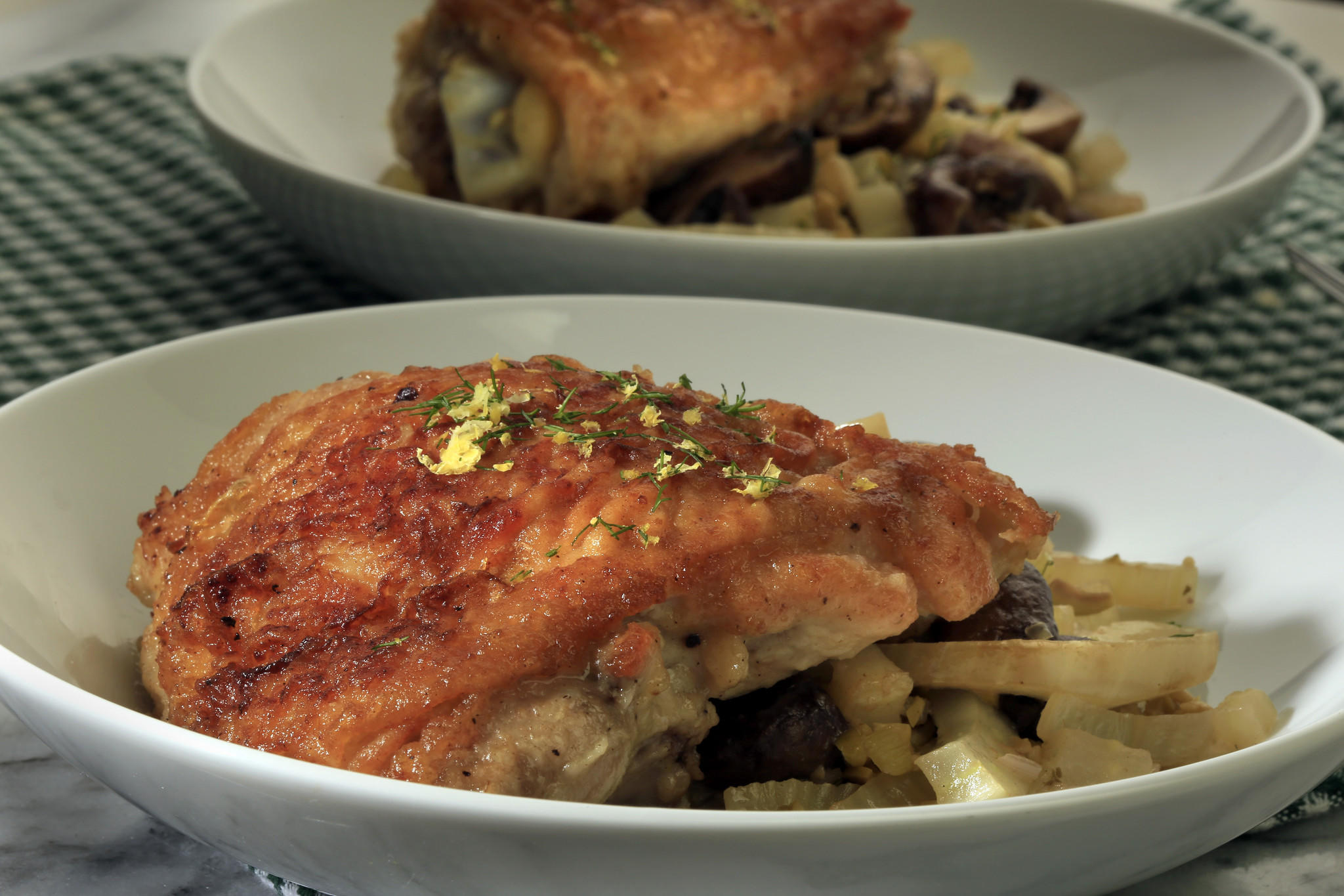 Recipe: Chicken braised with fennel, mushrooms and olives ...
