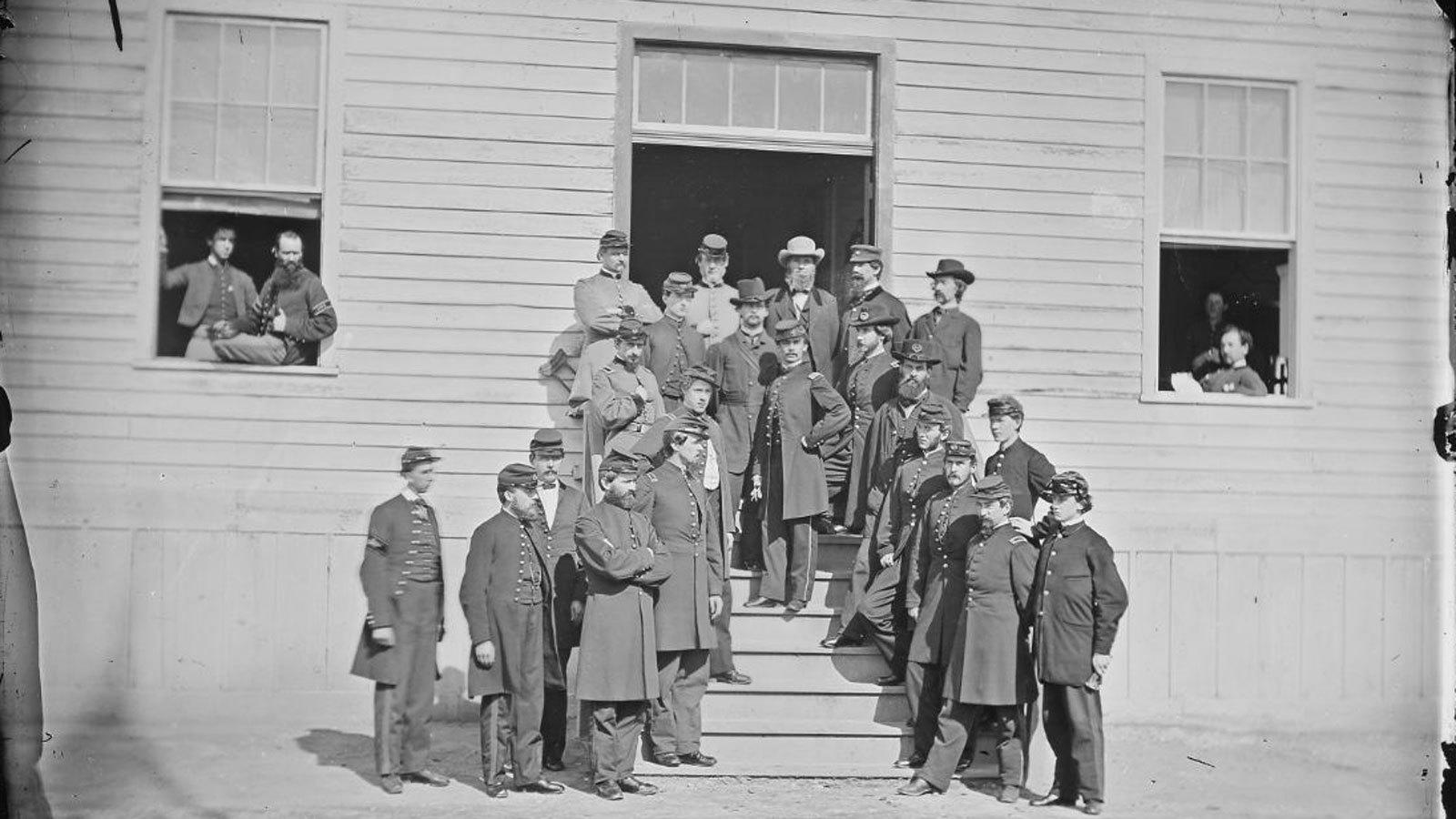 Civil War surgeons and stewards at Washington's Harewood hospital, circa 1860-65. (U.S. War Department)