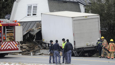 Truck crashes into house on Hanover Pike