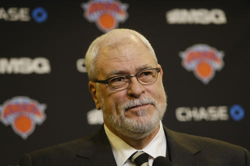 Knicks president Phil Jackson speaks during a news conference before a 2015 game.