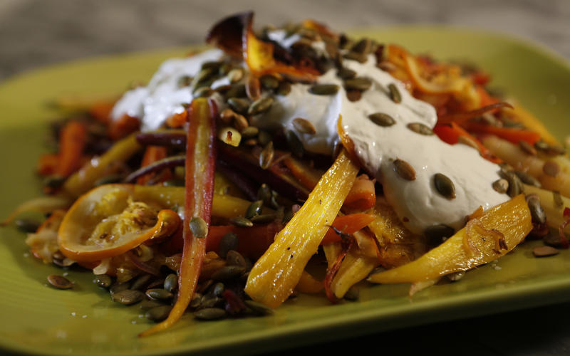 Roasted carrots and oranges with cumin and pumpkin seeds