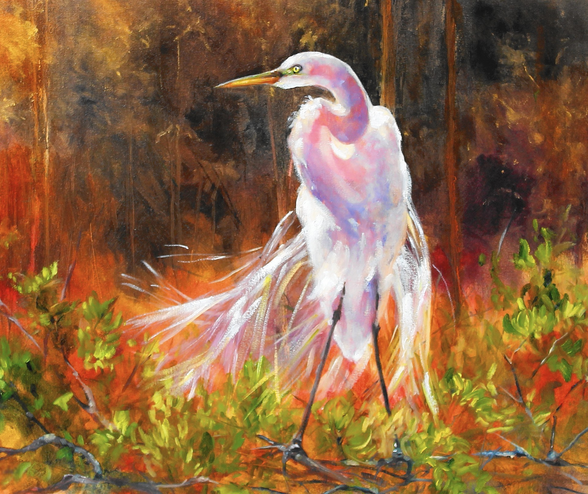 Oil painting by kate carney great white heron for White heron paint