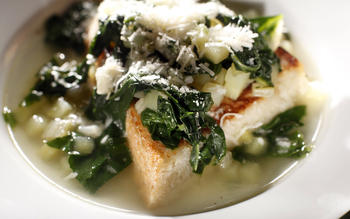 Potato and wild chard soup