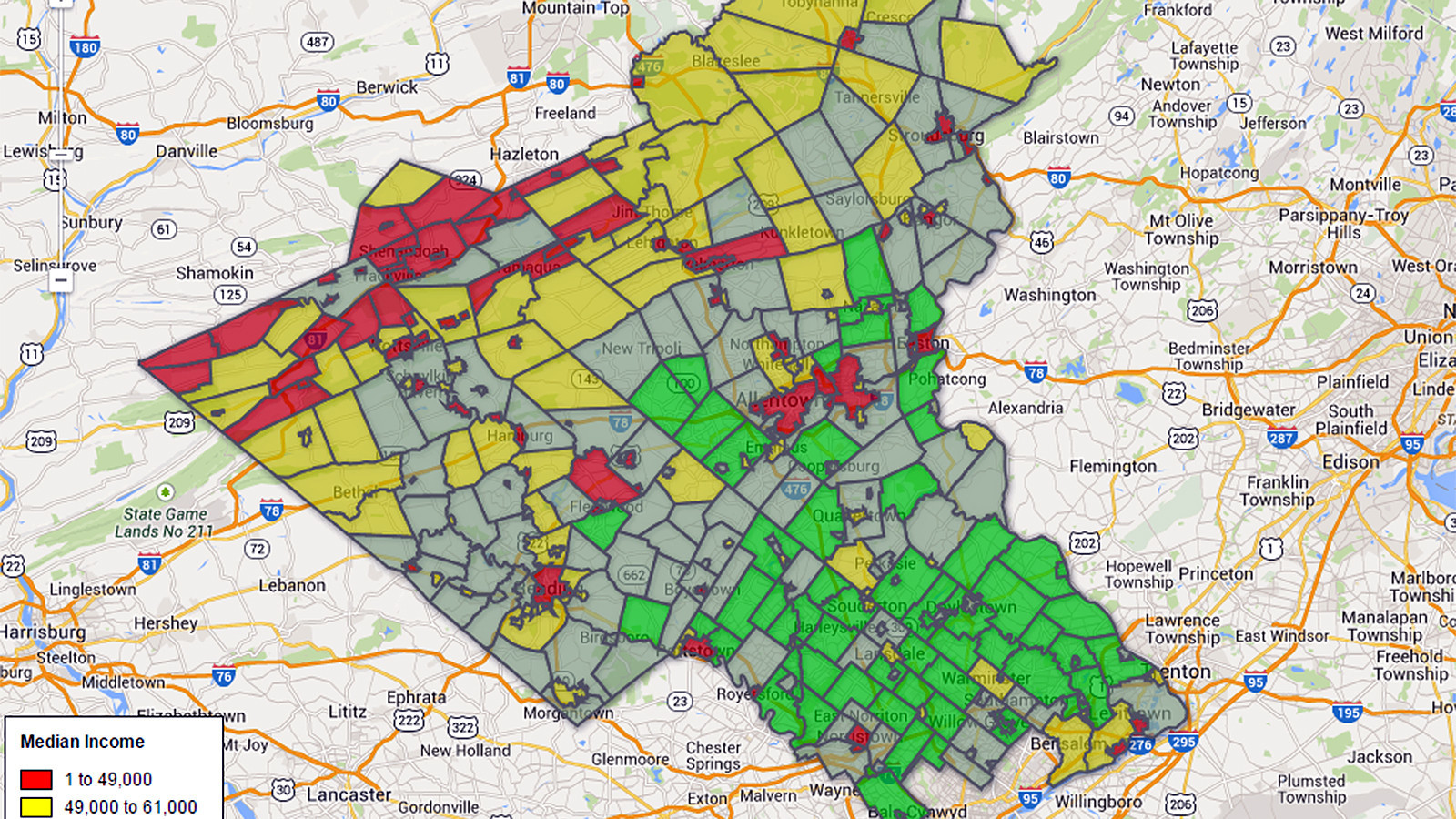 Median Income In Eastern Pennsylvania Towns The Morning Call - Map of pa towns