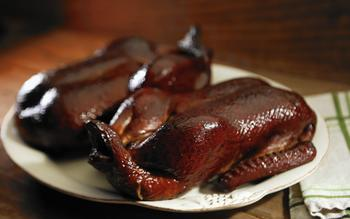 Maple-bourbon smoked duck