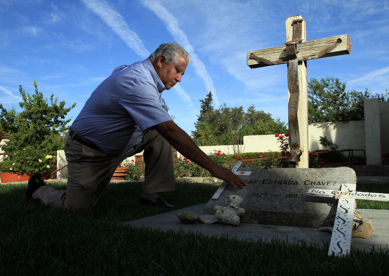 Paul Chavez at the grave of his father, labor leader Cesar Chavez. (Irfan Khan / Los Angeles Times)