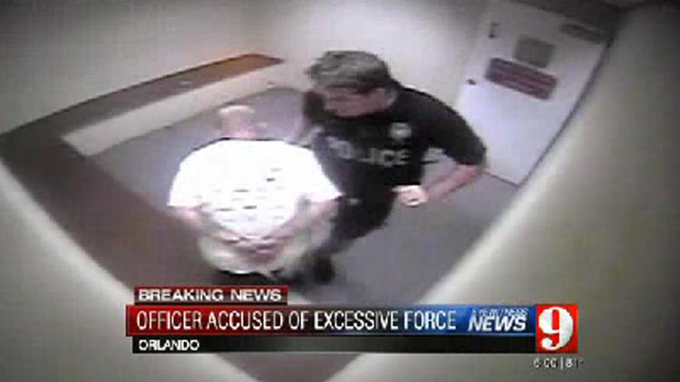 Video: OPD officer knees cuffed suspect in stomach
