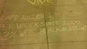 Fact-checking a chalk scrawl: How many people are killed by the LAPD?