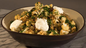 Roasted cauliflower with freekeh