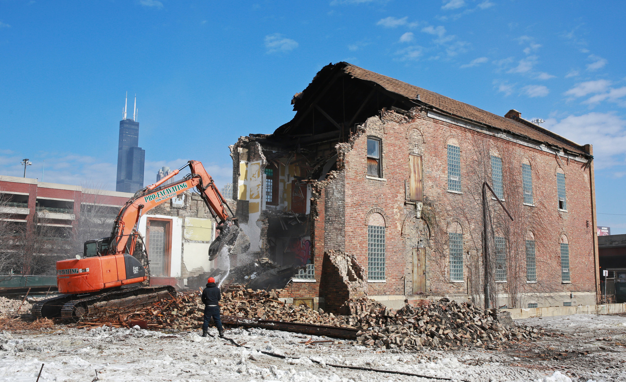 Building Demolition Before And After : Pre chicago fire building being demolished in maxwell