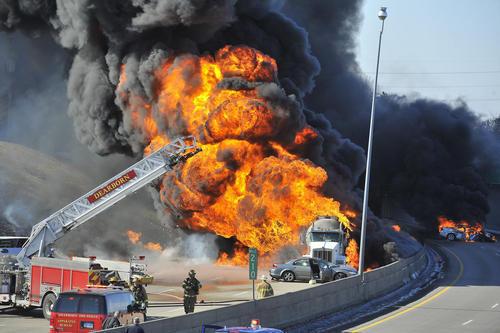 tanker truck explodes  closing i-94 near detroit
